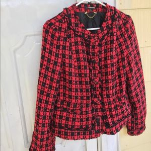 Express red tweed holiday jacket size 8